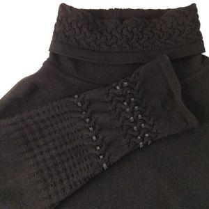Vintage Escada black turtleneck w leather details